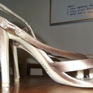Bronze Open Toe Sandal High Stiletto Heel Size 8
